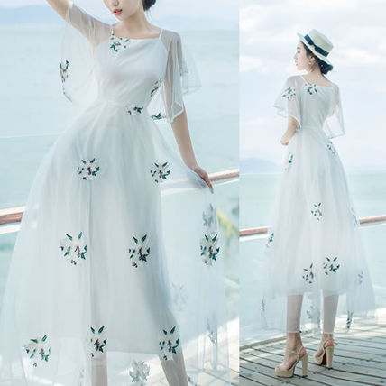 Flower embroidered floral sheer flare sleeves dress s