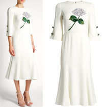 17-18AW DG1172 ORTENSIA EMBELLISHED DRESS WITH JEWEL BUTTON