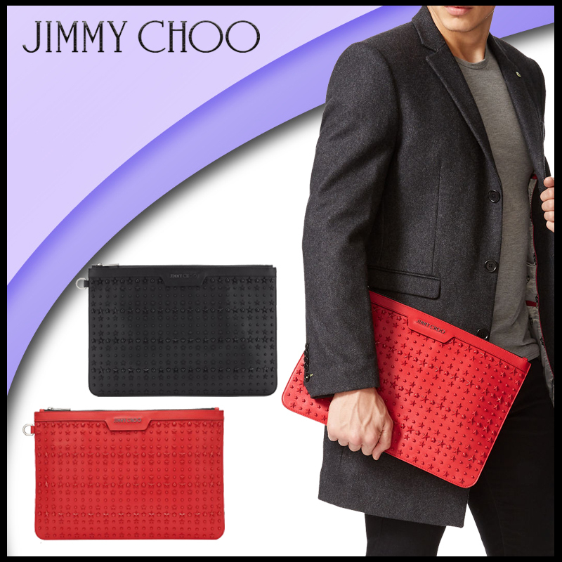 【Jimmy Choo】 ジミーチュウ Deep Red Leather Document Holder