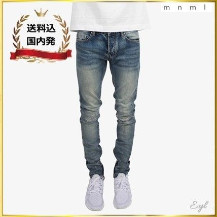 MNML minimalist denim stretch jeans M34 hem zip