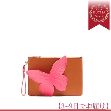Flossy butterfly leather pouch
