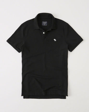Abercrombie & Fitch ポロシャツ 即発可!アバクロ ストレッチポロシャツ【Stretch Icon Polo】黒