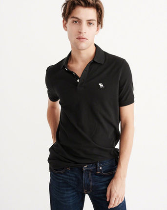 Abercrombie & Fitch ポロシャツ 即発可!アバクロ ストレッチポロシャツ【Stretch Icon Polo】黒(2)