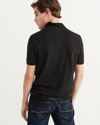 Abercrombie & Fitch ポロシャツ 即発可!アバクロ ストレッチポロシャツ【Stretch Icon Polo】黒(3)