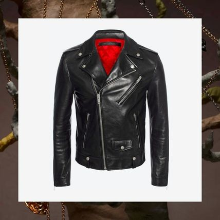 Alexander McQueen black leather rider jacket