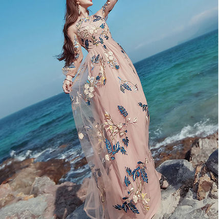 Flower floral embroidered chiffon a-line dress m