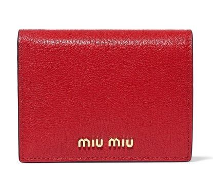 ★関税負担★MIU MIU★RED TEXTURED-LEATHER WALLET