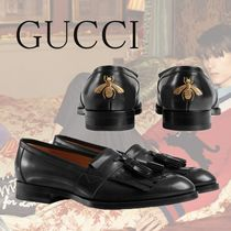 GUCCI Queercore Fringe Loafer With Bee Black