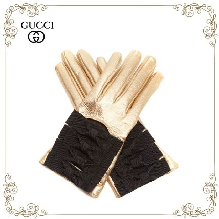 17 AW hottest GUCCI Bow-detail leather gloves