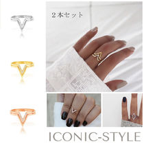 AUS発!★ICONIC-STYLE★V型 Tylerリング2本セット 3色あり