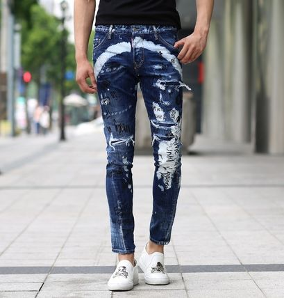 DSQUARED2 17AW illustration & multimedia damage jeans _SEXY