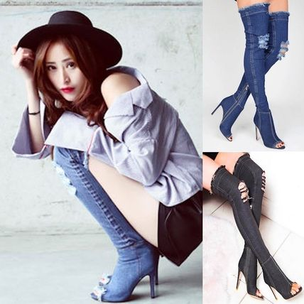 Denim damage processing knee high boots open toe.