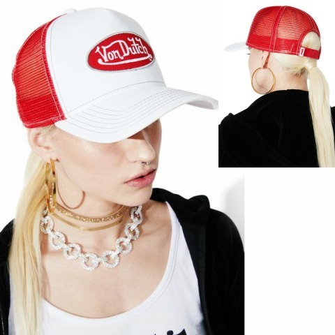 Von Dutch WHITE LOGO TRUCKER CAP