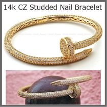 【King Ice】14k CZ Studded Nail ブレスレット☆国内発/送料込