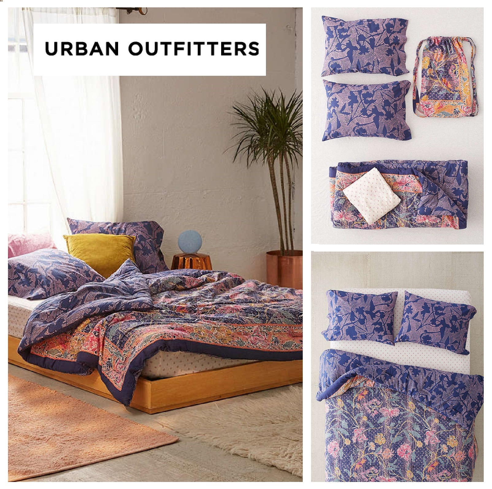 Urban Outfitters☆リバーシブルコンフォーター寝具セットQUEEN