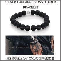 国内発送【Chained&Able】SILVER HANGING CROSS BEADED BRACELET