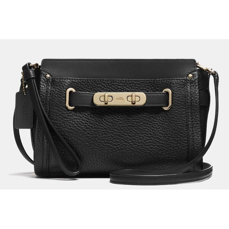 【Coach】 コーチ swagger wristlet in pebble leather