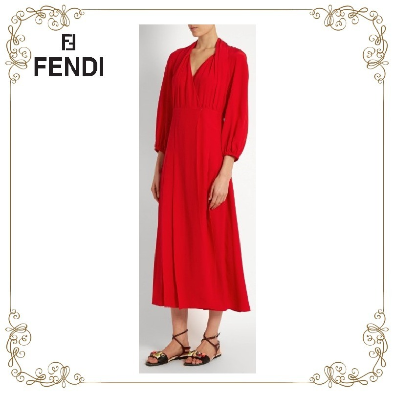 【SALE!17SS】★FENDI★Pleat-front crepe de Chine midi dress