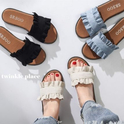 ruffle lace low heel flat Sandals into popular color