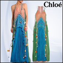 ★送料/関税無料★ Chloe Tasseled ruffled silk-crepon gown