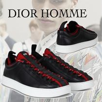 DIOR HOMME Leather Low-Top Sneaker Black×Red