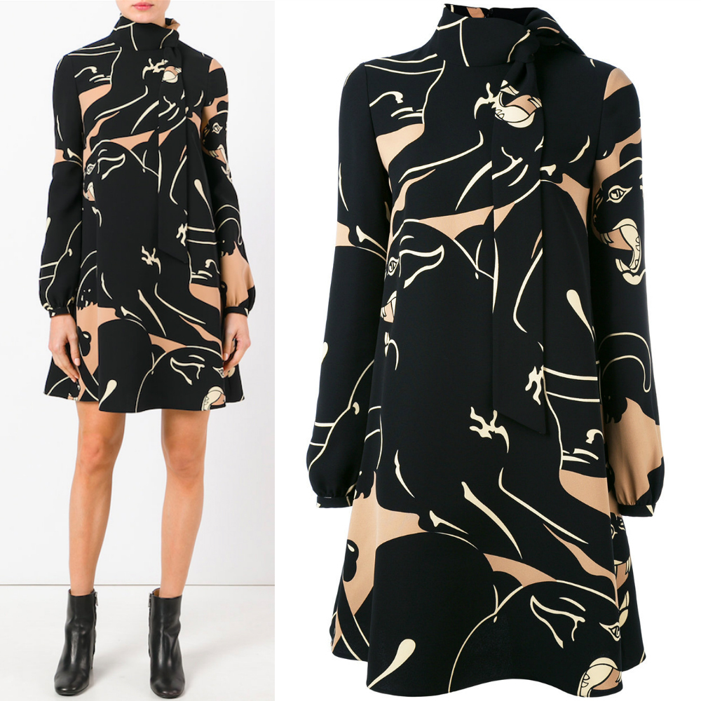 17-18AW V732 PANTHER PRINTED SILK CADY MINI DRESS