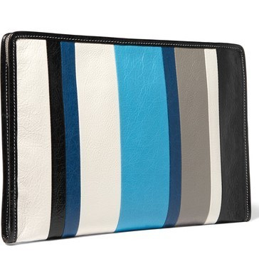 【国内発送】Balenciaga Bazar striped textured-leather pouch