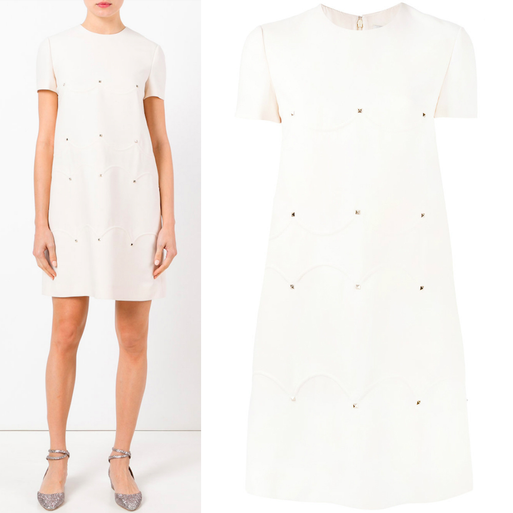 17-18AW V737 STUDDED CREPE COUTURE DRESS WITH SCALLOP DETAIL