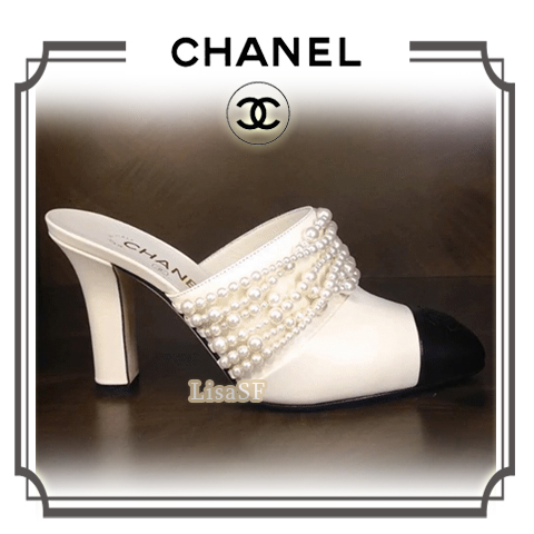 2017AW 新作☆CHANEL/上品なバイカラー♪パール ミュール/白&黒