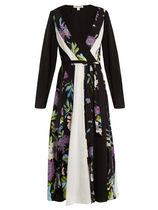 SALE!DVF-Contrast-panel floral-print silk dress