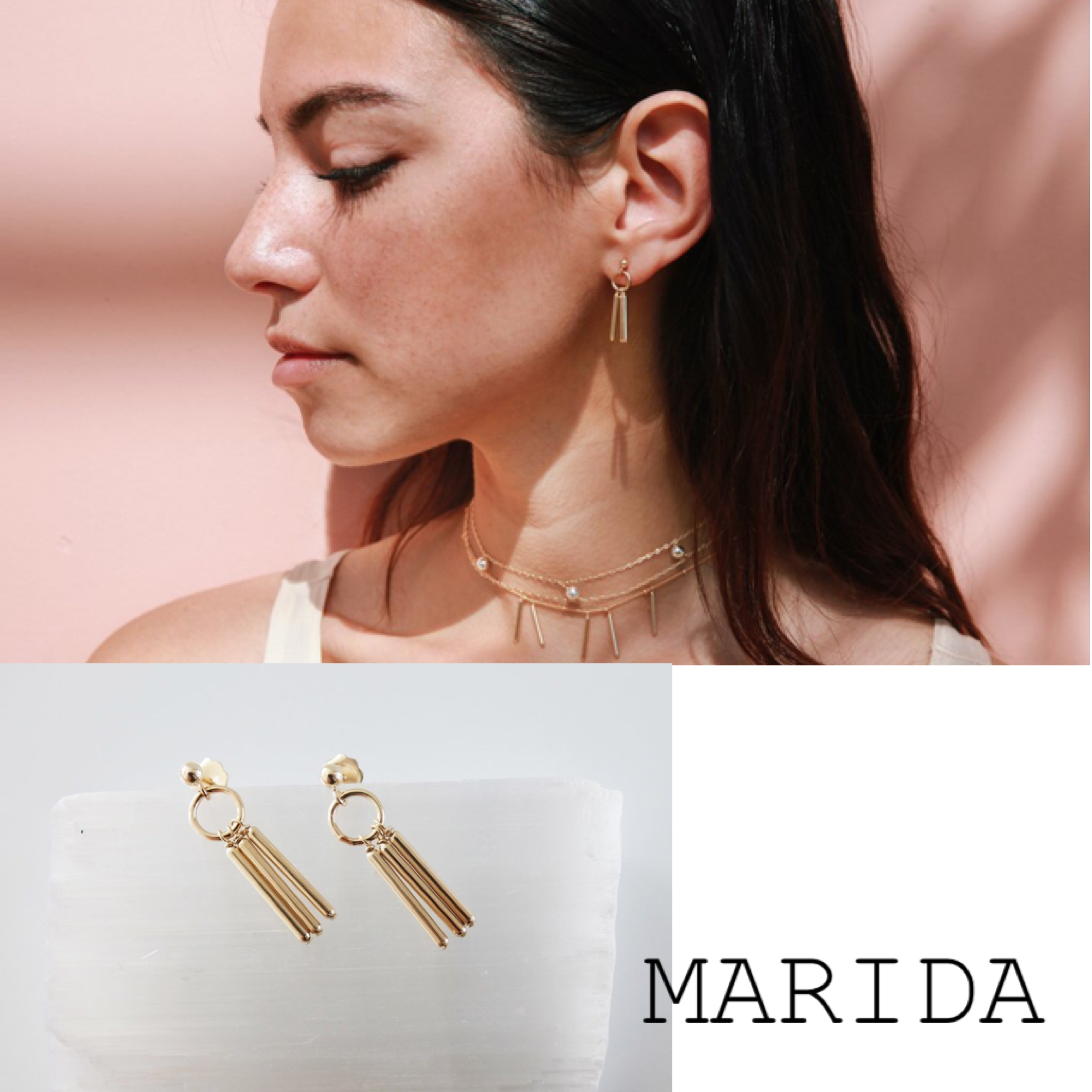 ★海外限定★MARIDA 14金GF Warrior Earrings Gold/Silver
