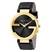 破格☆SALE☆Gucci Interlocking Black Leather Strap Watch