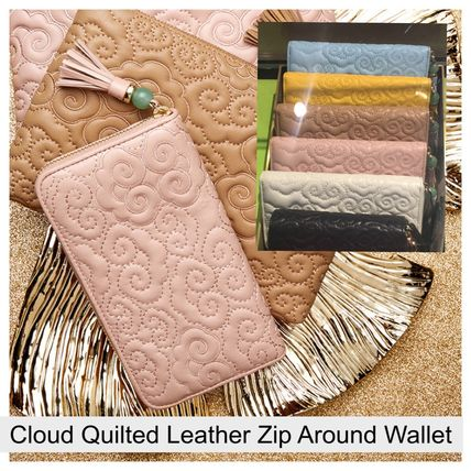 SHANGHAI TANG/ Cloud Quilted Leather Zip Around Wallet