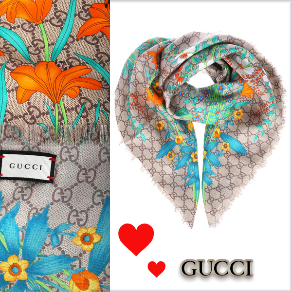 17FW★GUCCI★フローラプリント★GGモチーフスカーフ