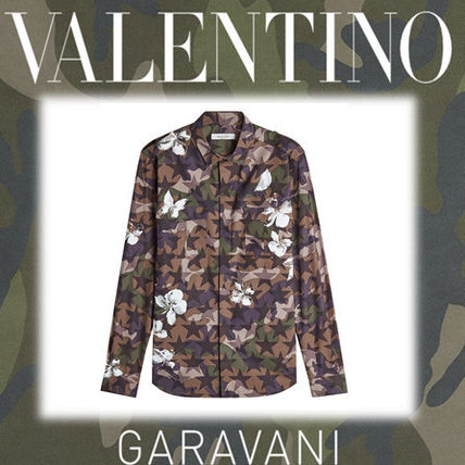SALE VALENTINO green camouflage pattern printed cotton