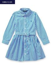 新作♪ 国内発送 STRIPED COTTON SHIRTDRESS girls 2~6X