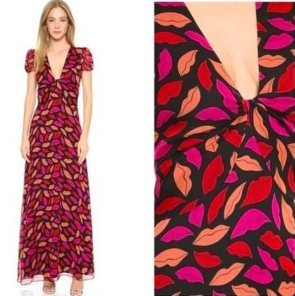 Limited sale DVF lip print Maxi dress