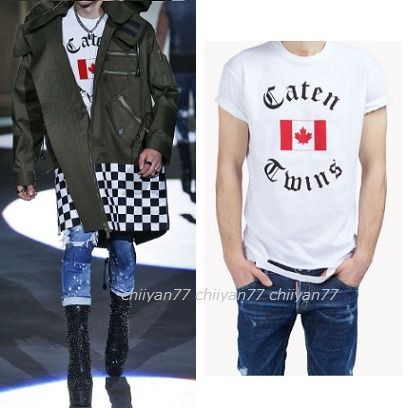 RUNWAY★【D SQUARED2】Caten Twins デザインTシャツ White