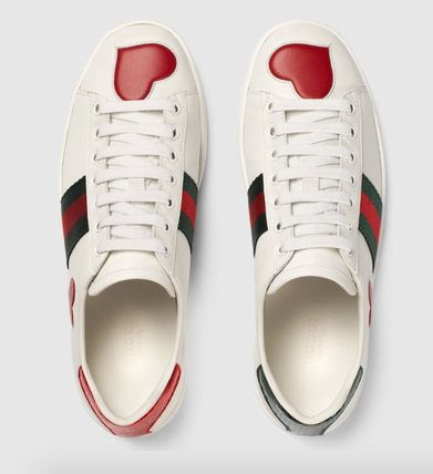 SS17 GUCCI Ace low-top sneakers heart / star