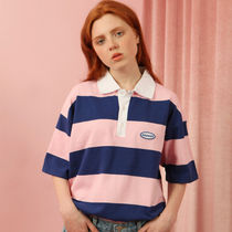 ncover(エンカバー) ポロシャツ ★ncover正規品★Stripe Pique Shirts-pink