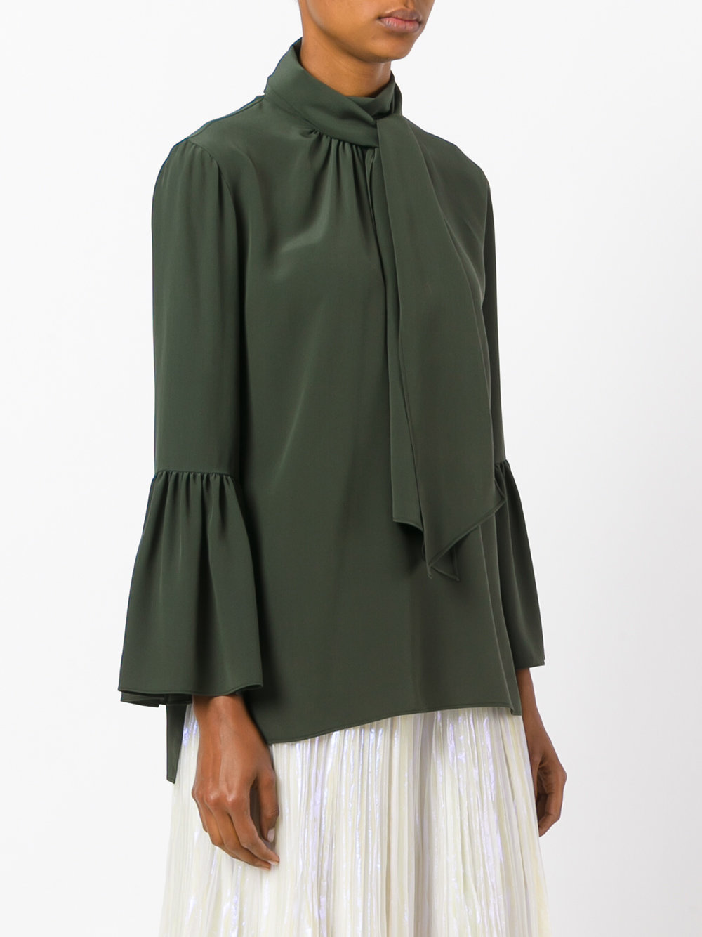 FE1559 SILK BELL SLEEVE BLOUSE WITH SCALF