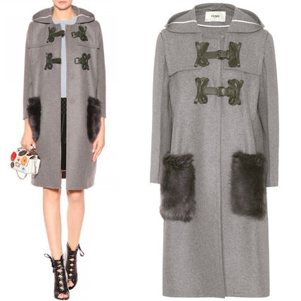 FE1562 FUR TRIMMED WOOL & CASHMERE COAT WITH BOW DETAIL