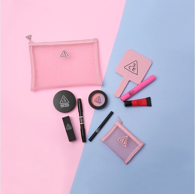 【3CE】3CE PINK RUMOUR MESH POUCH