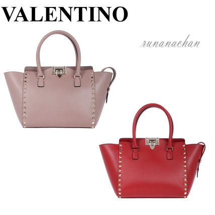 VALENTINO rock studded Noir double handle tote bag