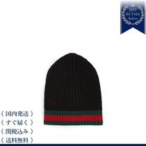 GUCCI(グッチ) ニットキャップ・ビーニー 最新作★Striped-edge ribbed-wool beanie hat