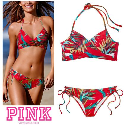 Victoria's Secret ビキニ 即発送!上下セット★PINK KNOTTED BACK BODY WRAP TOP&ボトム