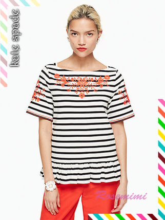 kate spade new york Tシャツ・カットソー 刺繍が素敵なケイトスペードトップス★stripe embroidered tee