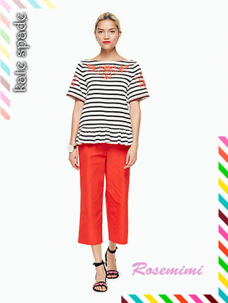 kate spade new york Tシャツ・カットソー 刺繍が素敵なケイトスペードトップス★stripe embroidered tee(2)