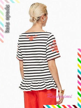 kate spade new york Tシャツ・カットソー 刺繍が素敵なケイトスペードトップス★stripe embroidered tee(3)