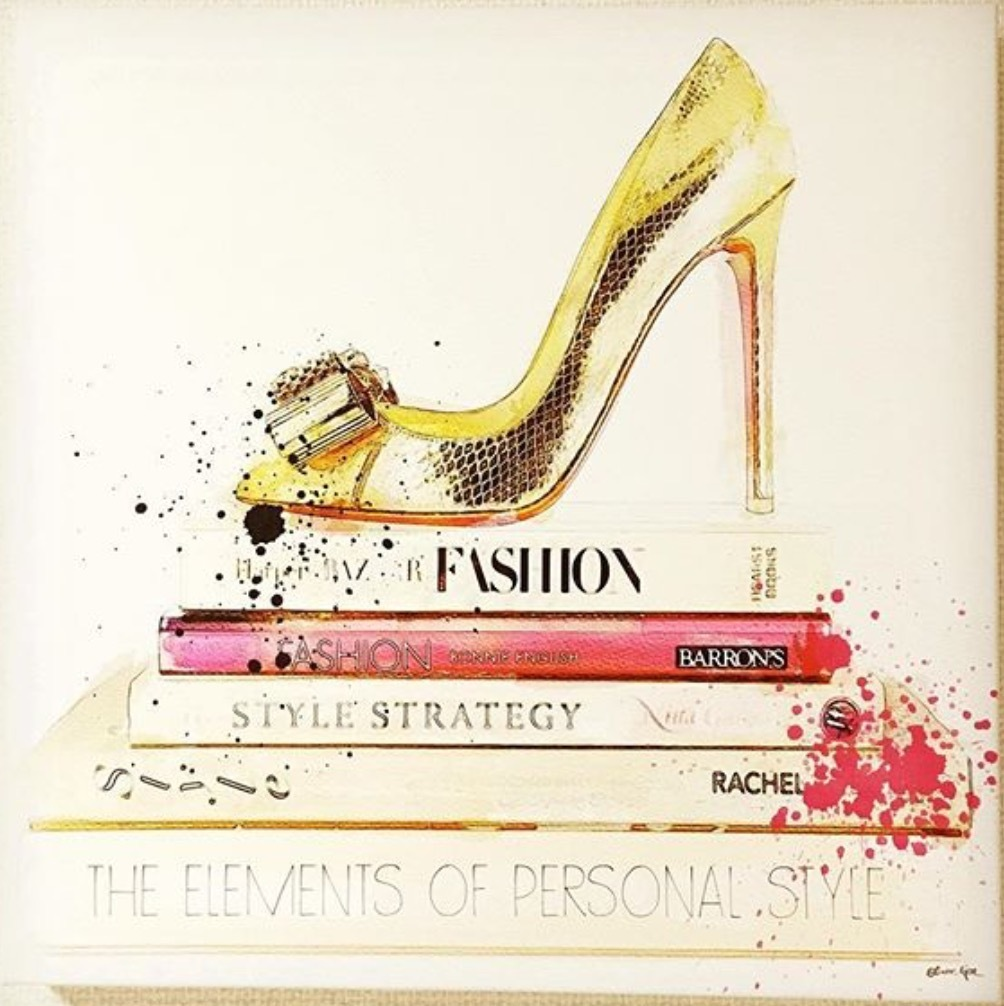 Oliver Gal★Gold Shoe and Fashion Books★キャンバス 76x76cm